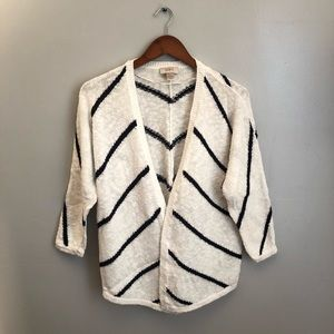 LOFT white and navy striped cardigan